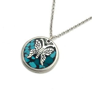 Jewelry - Vintage Butterfly Inlay Pendant Necklace Silver
